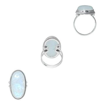 "SR-6094-RM-7"" Sterling Silver Ring With Rainbow Moonstone"