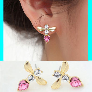 Buzz Bee Austrian Crystal Earrings - LilyFair Jewelry