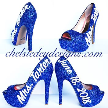 Blue Glitter Peep Toe High Heels, Something Blue Wedding High Heels