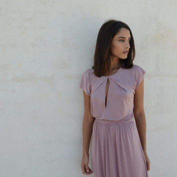 Blush bridesmaid dress, symmetrical folds on neckline, floor length bridesmaid dress