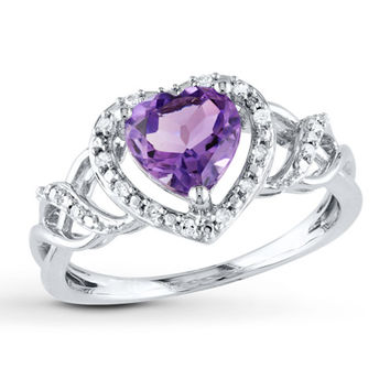 Amethyst Heart Ring 1/10 ct tw Diamonds Sterling Silver