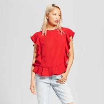 Women's Short Sleeve Ruffle Blouse - Layered with Love Red M
