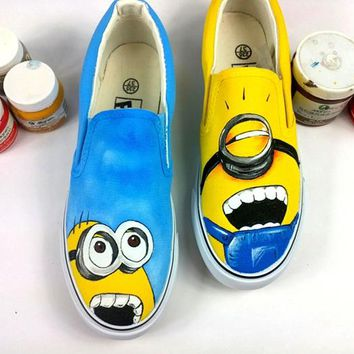 Women Shoes  Cartoon Anime Minions Hand Painted Canvas Shoes Girls