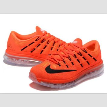 """NIKE"" Trending AirMax Toe Cap hook section knited Fashion Casual Sports Shoes Orange transparent soles(black hook)"
