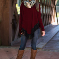 Loose Asymmetrical Shirt With Tassel