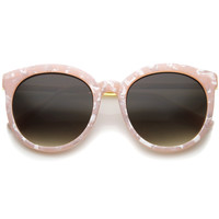 Womens High Fashion Oversized Marble Finish Metal Temple Round Sunglasses