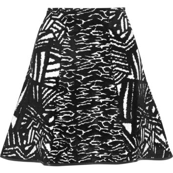 Issa - Winnie fluted stretch-jacquard mini skirt