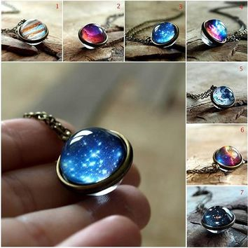 Package Content:  1 x Galaxy Necklace  Material: Glass Size:  Diameter Cabochon x 2 : 16 mm / 0.63 inch Chain Length: 45cm