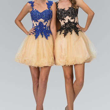 Rolled Hem Short Tulle Dress with Floral Lace Embellished Bodice GS2133