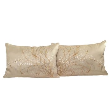 2 pcs Jacquard Satin Meadow Reeds Pattern Queen Size Cream Pillow Case/Cushion Cover