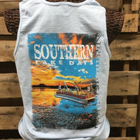 South Waters Southern Lake Days Boat Fishing Comfort Colors Unisex Bright Tank Top Shirt