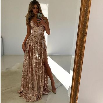 2018 Sexy Hollow Out Sequined Dress Deep V Neck 2 High Splits Transparent Maxi Dress Floor Length Party Gown Dress