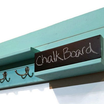 Modern Rustic Mail Organizer with Chalkboard Bin - 2 Double Hook Style