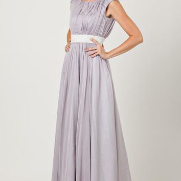 JS Collection - 862451 Cap Sleeve Vertical Ruched Beaded Chiffon Dress