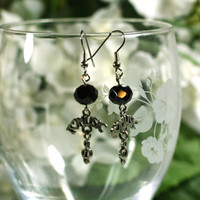 I love music charm earrings with black crystal beads - dangle earrings, treble clef earrings - music lover jewelry