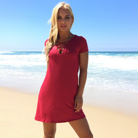 Life Is Good Jersey Dress In Red
