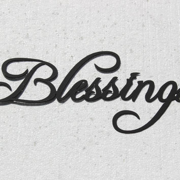 Blessings Word Sign Fancy Script Font Metal Wall Art