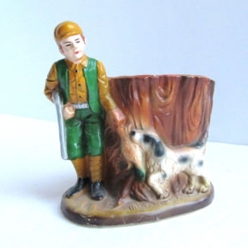 vintage ceramic 1930s duck hunter and his dog planter