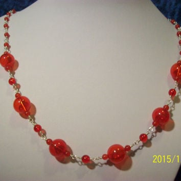 Red Hand Blown Glass And Red Candy Jade Sterling Silver Wire Wrap Necklace