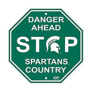 "Michigan State Spartans 12"" Plastic Wall STOP Sign Country DANGER University"