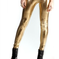 Metallic Gold Leggings : Comfortable Legging Pants