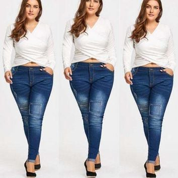 Women Jeans Women Destroyed Ripped Distressed Denim Mid Waist Jeans Plus Size Jeans
