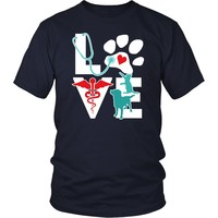 Veterinary T Shirt - Veterinarian Love Cat and Dog