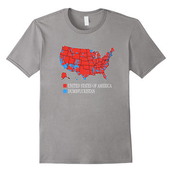 Dumbfuckistan T-Shirt United States of America Map Red & Blu