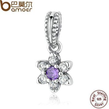 BAMOER 925 Sterling Silver FORGET ME NOT PENDANT CHARM Pendant Fit Charms Bracelet for Women Fashion Jewelry PAS295