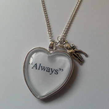 Harry Potter Always Quote Silver Doe Necklace