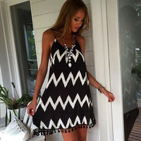 Loose Zig-Zag Printed Tassel Strap Dress