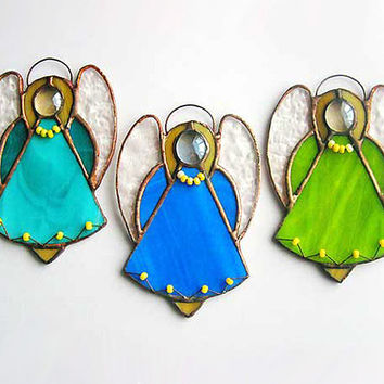 Stained Glass Angel.Suncatcher.Tiffany window.Christmas tree decor