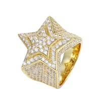 Sterling Silver Iced Out Double Star 3D Men's Ring