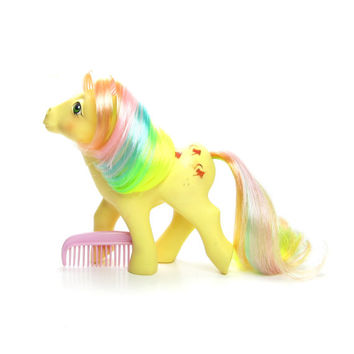 Trickles Rainbow Pony Vintage G1 My Little Pony with Original Comb, Yellow with Watering Cans