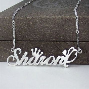 YiYaoFa Letter Necklace Name Necklaces & Pendants Custom 925 Silver Jewelry Personalized Initial Necklace Handmade Birthday Gift