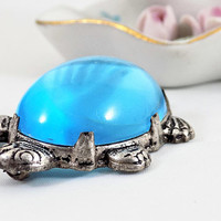 Blue Jelly Belly Turtle Brooch, Lucite Belly, Silver Tone Metal, Vintage Jewelry Brooch