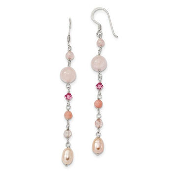 Sterling Silver Pink Pearl, Cherry Rose Quartz, Jade & Rosaline Long Dangle Earrings