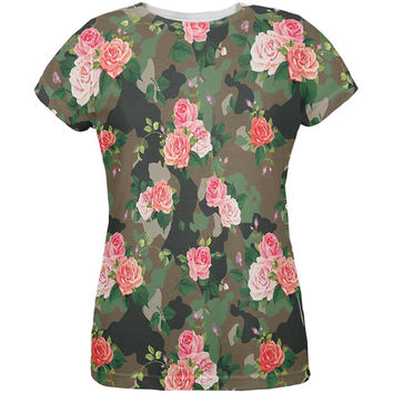 Camo Floral Pattern All Over Womens T-Shirt