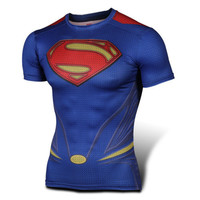 Short Sleeve Superman Slim Men Gym Anime Shirt Quick Dry T-shirts [6572814343]