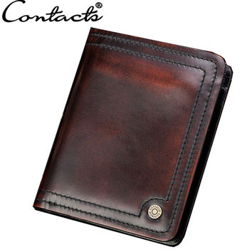 Men Leather Handcrafts Vintage Wallet [9026453763]