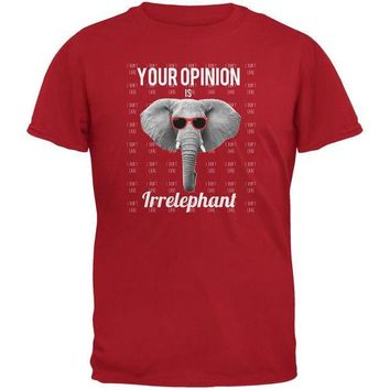 LMFCY8 Paws - Elephant Your Opinion is Irrelephant Red Adult T-Shirt