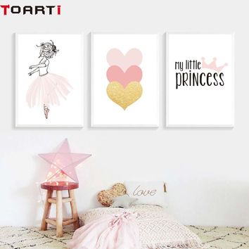 Pink Princess Heart Cartoon Poster&Prints Home Decor Canvas Painting Wall Picture Nursery Girls Bedroom Modern Wall Art Murals