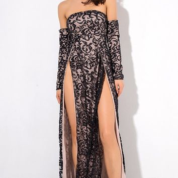 Give It Up Black Glitter Swirl Pattern Long Sleeve Off The Shoulder Double Slit Maxi Dress