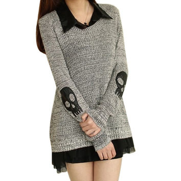 Women Sweater Fashion Casual Skull Print Work Office Pullover Loose Knitted Sweaters SM6