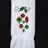 Christmas Ornaments in Reds, Greens and Gold Embroidered on A Quality Bathroom Towel