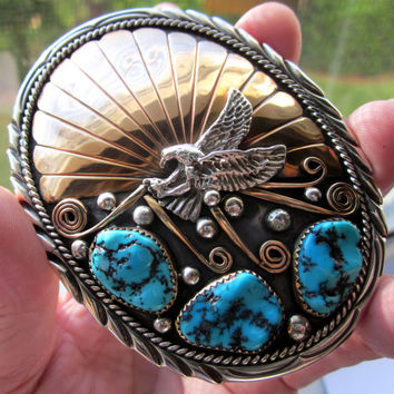 Sterling turquoise belt buckle Navajo belt buckle silver Native American crafted belt buckle Southern belt buckle accessories gold filled