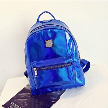 Women Fashion Faux Leather Zipper Reflective Backpack Travel Shoulder School Bag
