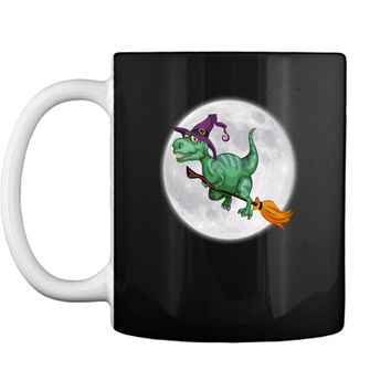 Funny Scary Party Gift Halloween Flamingo Witch with Broom Mug