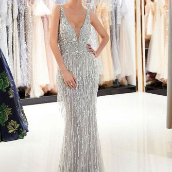 Tassel Evening Dresses Mermaid V-neck Beaded Sequined Sleeveless  Backless Illusion Sexy Prom Gowns