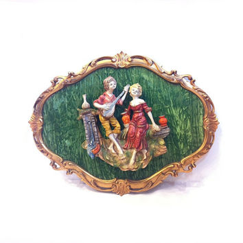 Vintage Italian Wall Plaque Romantic Couple Courting Couple Serenade Guitar Wall Plaque Italian Decor Victorian Oval Ornate Frame Italy Art